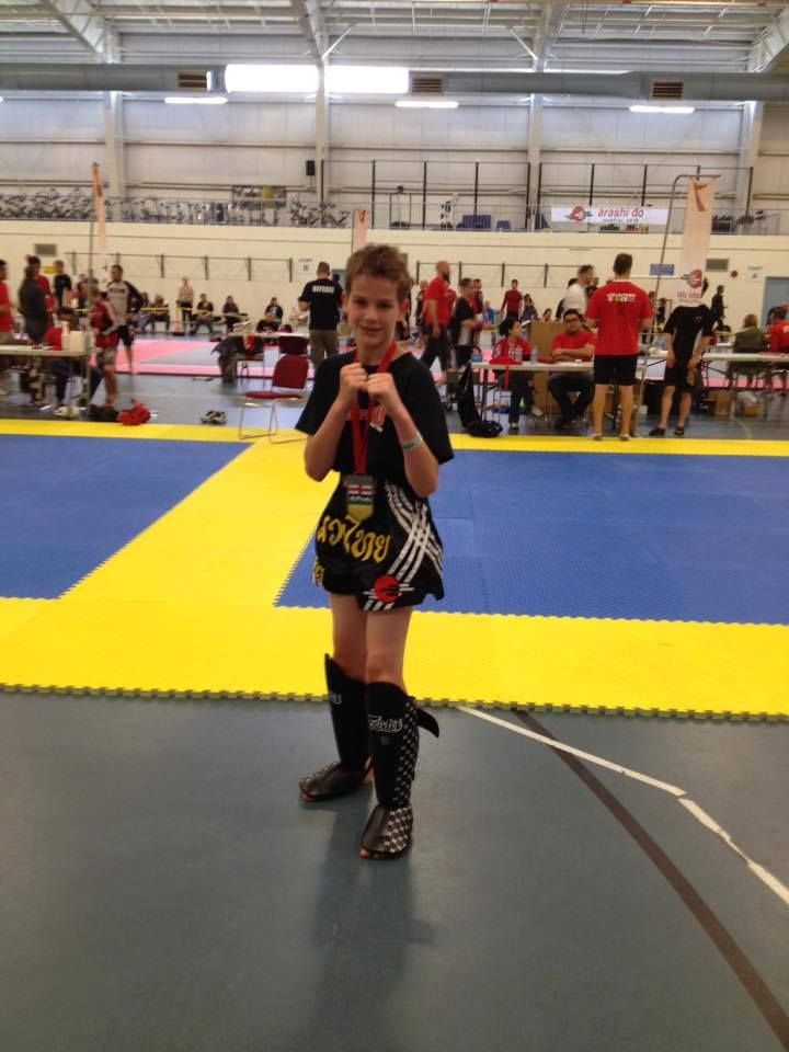 Sherwood Park's Muay Thai student medals!