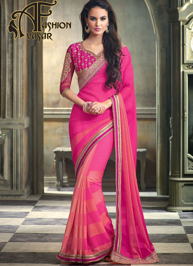 Pink Chiffon Saree With Golden Border.This Rose Pink & Salmon Chiffon Saree is adding the desirable glamorous displaying the feel of cute and graceful. The