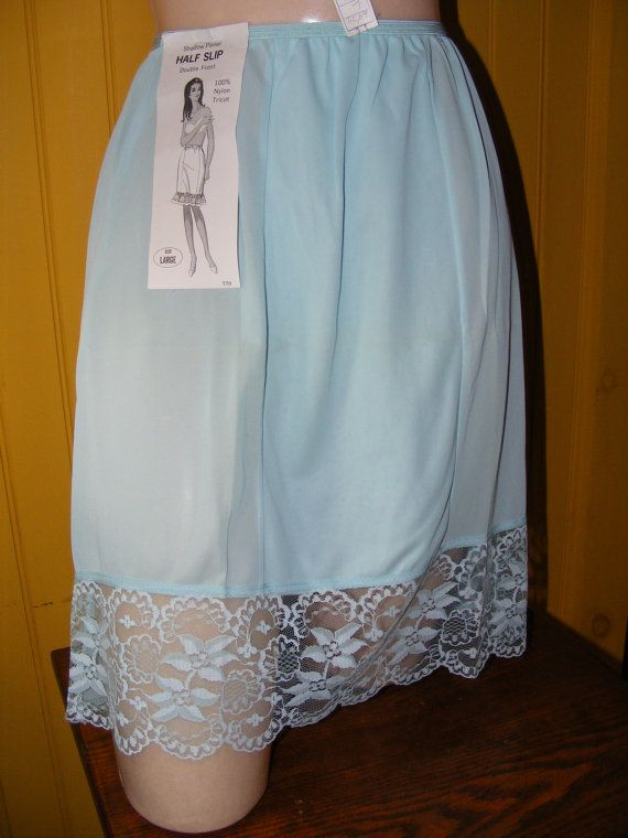 Vintage 1960s Half Slip Pale Blue Nylon Tricot Lace Hemline Unworn with Original…