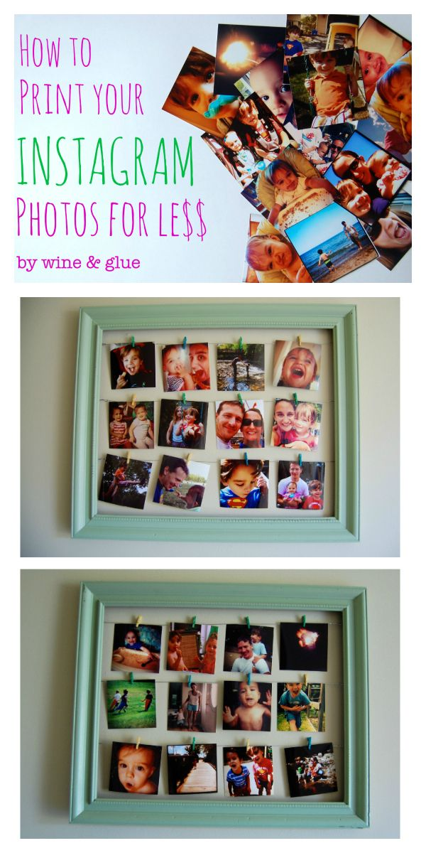 How to Print Your Instagram Photos for Less and then a fun way to hang them!  | www.wineandglue.com