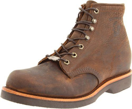 """Chippewa Men's 6"""" Rugged Handcrafted Lace-Up Boot Chippewa. $107.42. Vibram sole. Insulation: None.. Removable Cushion Insert, Handcrafted In The USA.. Shaft measures approximately Ankle"""" from arch. Insole: 5 Iron Texon.. leather. Upper: Chocolate Apache. Outsole: Vibram Stockbridge. Lining: Drill Vamp.. Soft toe."""