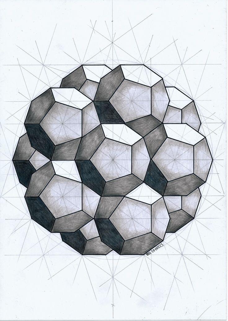 #dodecahedron #geometry #symmetry #pattern #mathart #regolo54 #Escher #pentagon #goldenratio #fibonacci #pencil #symmetry