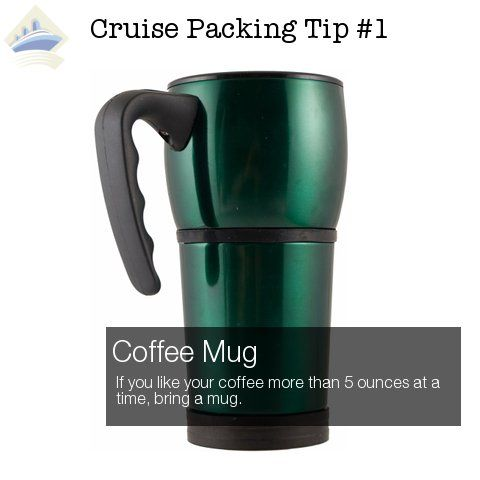 Cruise Packing Hack #1 - Coffee Mug. See all 26 Awesome Cruise Packing Tips here: http://shipmateblog.com/cruise-packing-tips-hacks/
