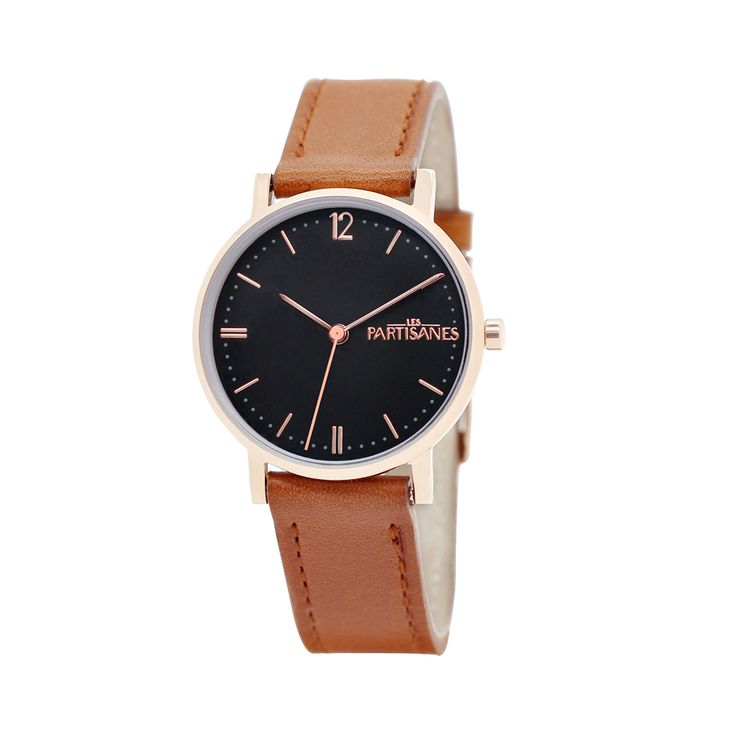 L'Audacieuse or rose, fond noir, marron caramel.  #lespartisanes #watch #womenwatch #paris #madeinfrance