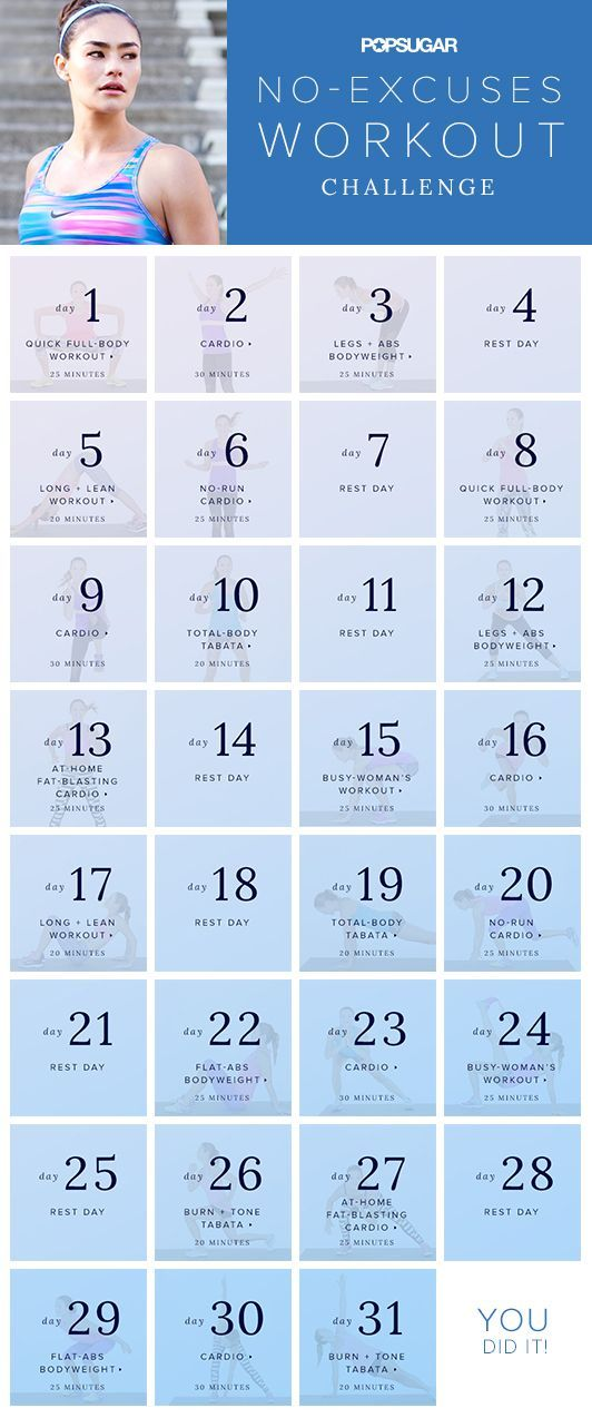 Join our monthlong bodyweight workout challenge. We will give you the workouts to follow this plan so you can stay fit no matter where you are. No equipment means no excuses!