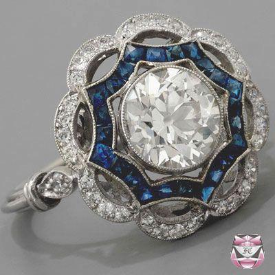 Art Deco style platinum sapphire and diamond ring
