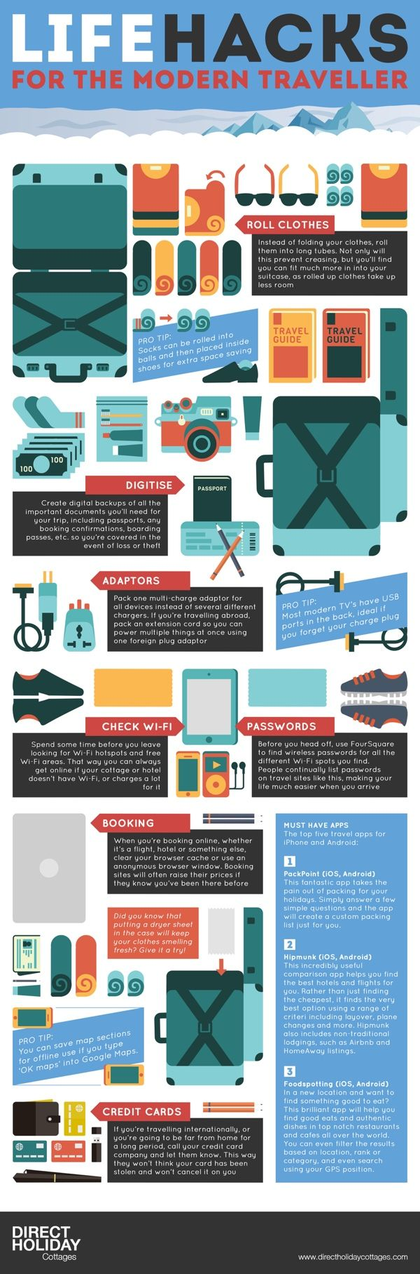 The Life Hacks for the Modern Traveller infographic from Direct Holiday Cottages provides you w...