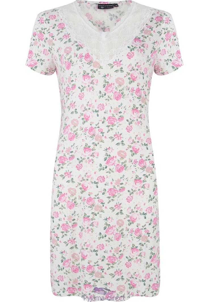 "Feel feminine & romantic in this ""spring rose blossom"" ivory & pink ladies short sleeve nightdress with pretty lace detail"