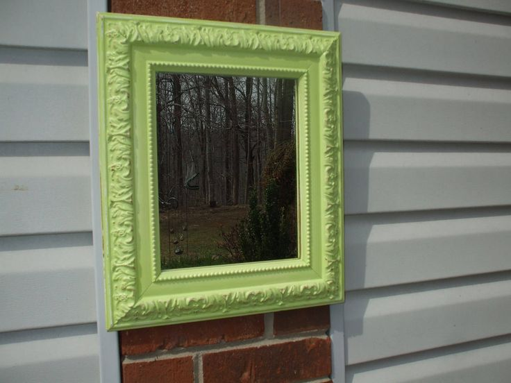 Ornate Shabby Chic Chartreuse Green Mirror 15 x 13 by MountainMistPeddlar on Etsy