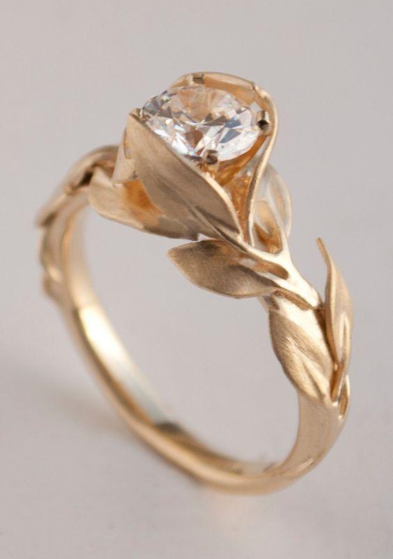 Leaves Engagement Ring No. 7 – 14K Gold and Diamond engagement ring, engagement ring, leaf ring, 1ct diamond, antique, art nouveau, vintage