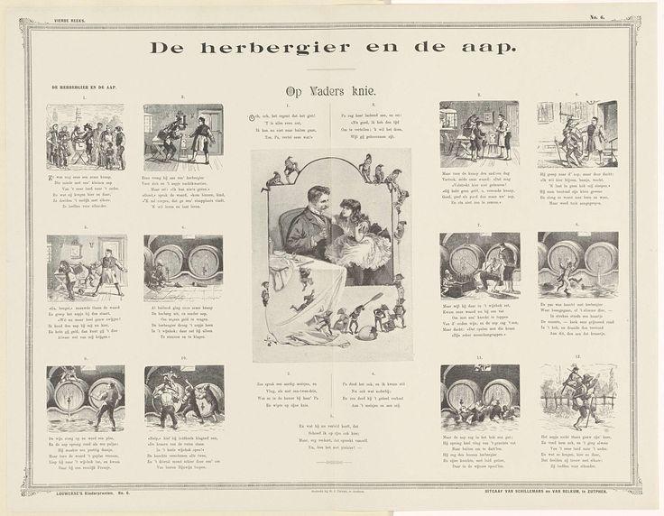Birch (19e eeuw) | De herbergier en de aap, Birch (19e eeuw), Schillemans & Van Belkum, G.J. Thieme, 1905 - 1924 | Blad met 13 voorstellingen. Links en rechts twaalf kleine genummerde voorstellingen die samen het verhaal vertellen van een herbergier en een aap. In het midden een grote voorstelling van een meisje bij haar vader op schoot. Tussen de afbeeldingen versjes in boekdruk. Genummerd rechtsboven en linksonder: No. 6.