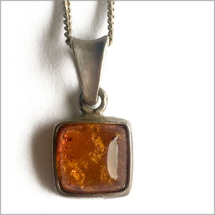 Vintage Natural Amber Pendant on Sterling Silver Chain