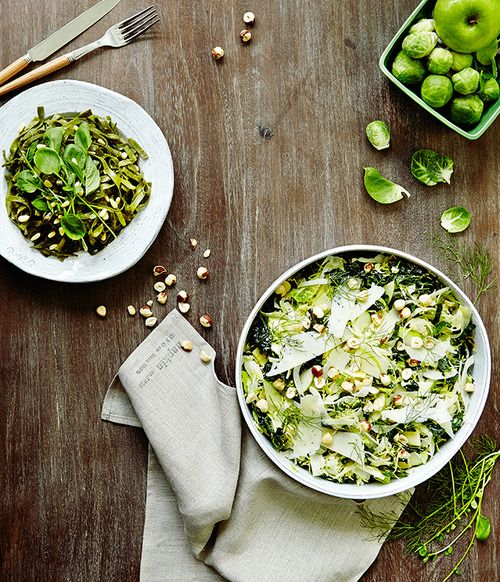 shaved brussels sprout salad with hazelnuts + pecorino via Anthro/The New Potato