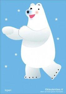 Bewegingskaarten ijsbeer voor kleuters 1, lopen, kleuteridee.nl, thema Noorpool, Movementcards for preschool, free printable.