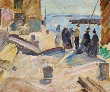 The Arrival of the Mail Boat, Christiansø (Study) by Edvard Weie