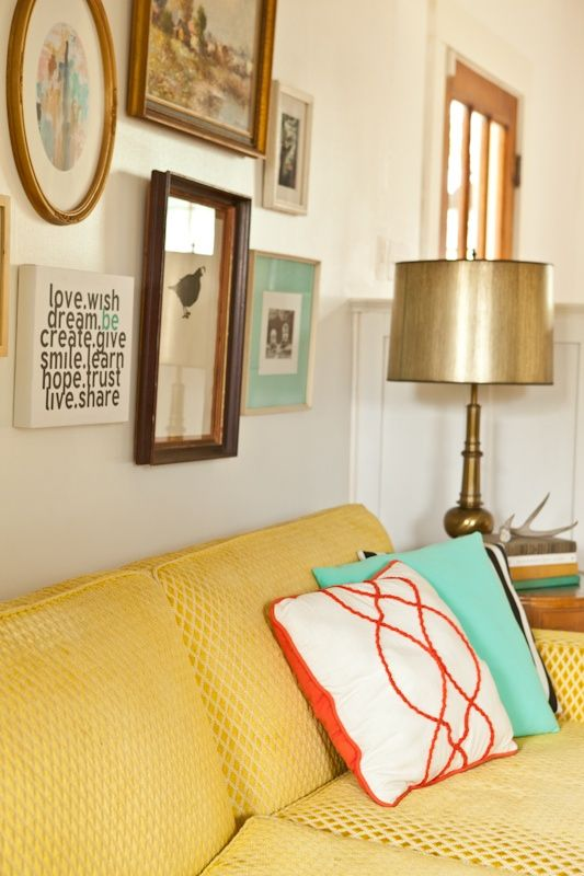 objects living co._interior design_fort worth_misty spencer_vintage_yellow sofa_mint pillow_vintage lamps_black and white stripe pillow_gall...