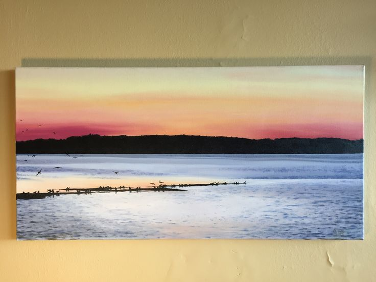 Oil painting of sea birds gathering in Charlottetown Harbour (Prince Edward Island), just before the sun rises