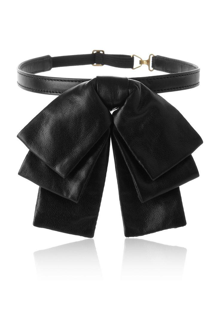 Saint Laurent|Bow leather collar|NET-A-PORTER.COM