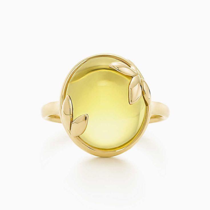 Anel Olive Folha de Paloma Picasso ™ em ouro 18k com hum citrino.