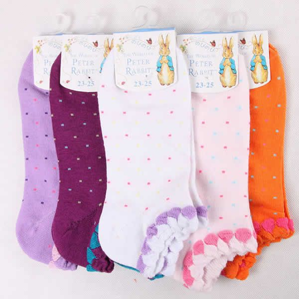 Cotton Women Ankle Sock, antibacterial & non-slip, jacquard, dot