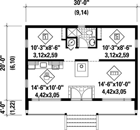 First Floor Plan of House Plan 52784