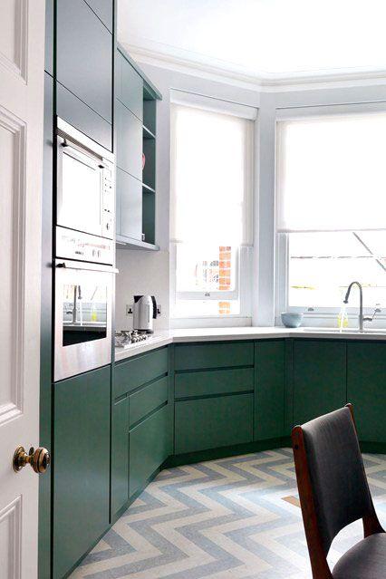 MODERN BRITISH KITCHEN IN GREEN COPPER & CHEVRON (via Bloglovin.com )