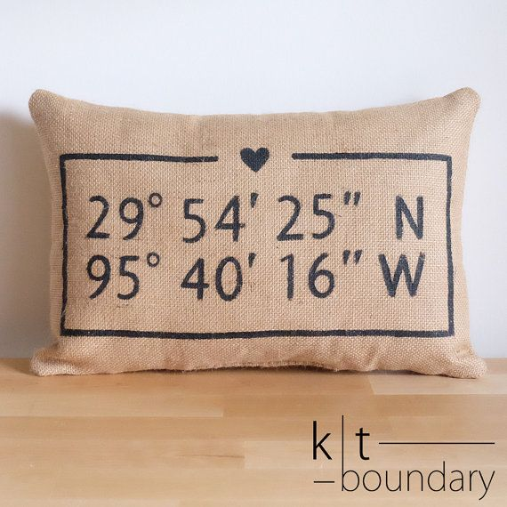 Personalized Map Coordinates Burlap Pillow Love by ktboundary24