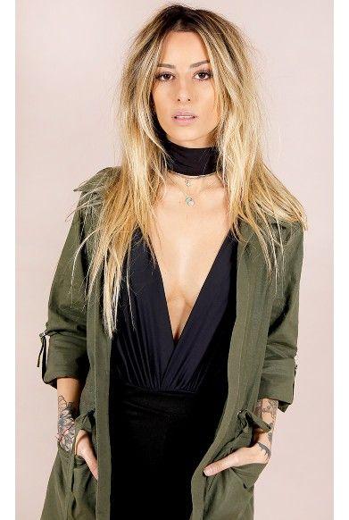 Body Decote Profundo Preto Fashion Closet - fashioncloset