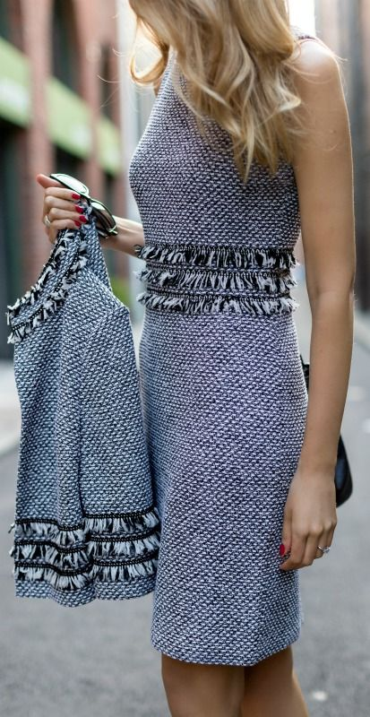 The perfect way to incorporate a touch of the fringe trend in a classic way. #stjohnknits #spring2015