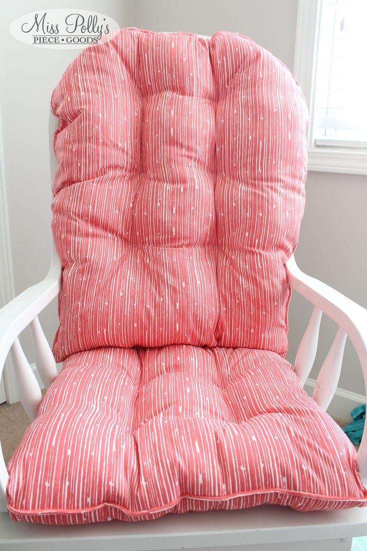glider/ rocking chair cushions in coral- custom made by MissPollysPieceGoods https://www.etsy.com/listing/178107141/custom-chair-cushions-glider-cushions #coral #glider #cushion #rockingchair #misspolly #nursery