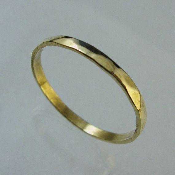 Hand forged ring, Wedding Band,14 karat gold ring,Recycled gold, Man Wedding…