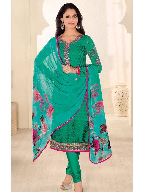 Lovable Jungle Green and Pink Online salwaar Suit