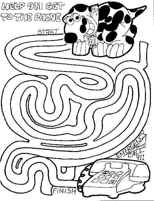 Safety Coloring Pages For Kindergarten : Fire safety maze preschool pinterest