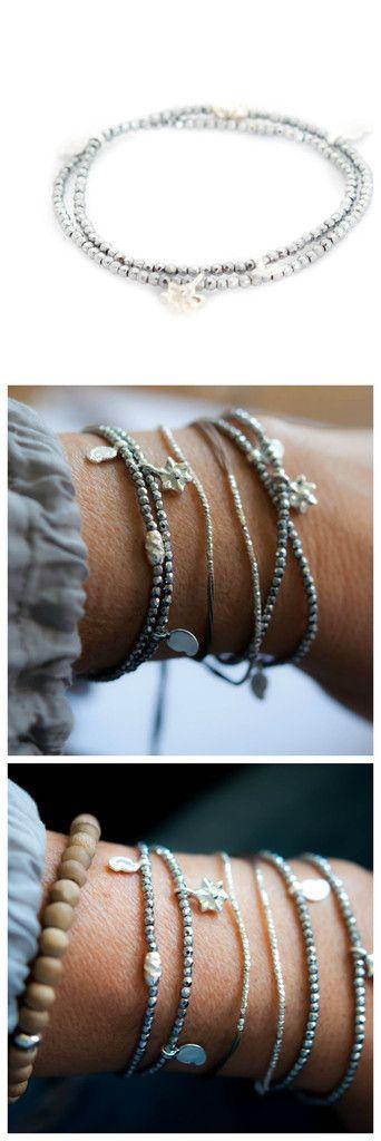 Silver Hematite double wrap bracelet by vivien Frank 20% off couponcod: XMAS20