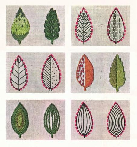 embroidered leaves photographed by Manda McRory of TreeFall Design from a Better Homes & Garden book she found at a garage sale.