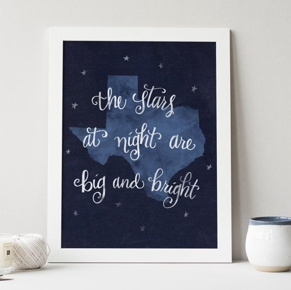 Texas Stars at Night state hand lettering digital by penmeetpaper