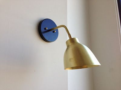 Petit Navire Sconce, brass with blue mounting base by Atelier de Troupe