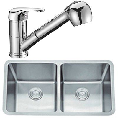 large brushed stainless steel under mount 2 bowl kitchen sink u0026 a chrome pull out spout