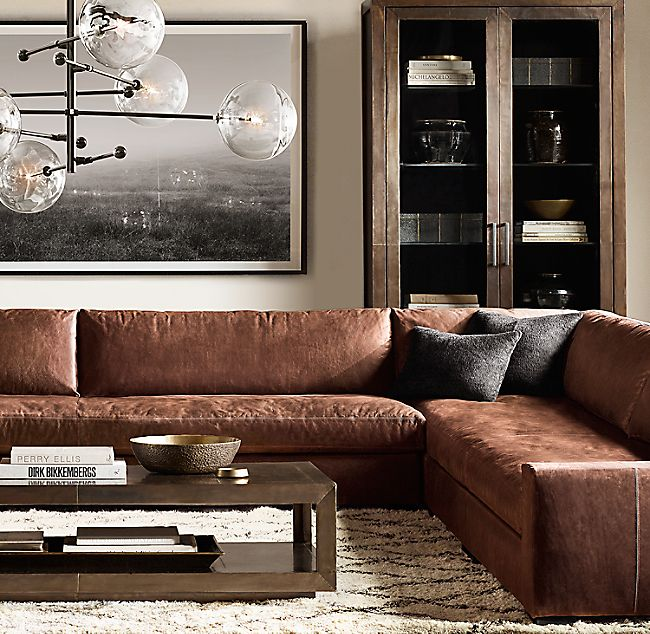 Maxwell Leather Customizable Sectional In 2020 Leather Sectional Living Room Brown Sofa Living Room Modern Leather Sofa