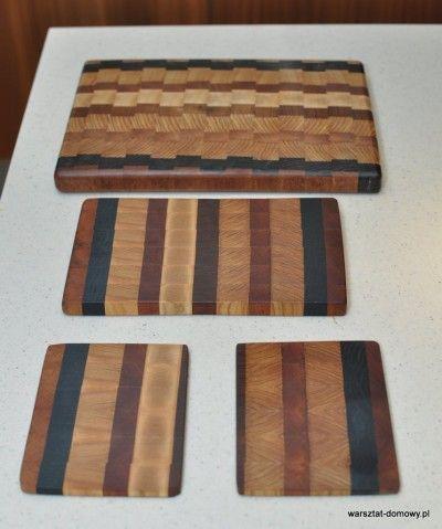 Deska do krojenia z kolorowego drewna - jesion, mahoń, czarny dąb
