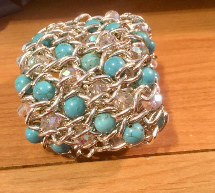stretch bangle bracelet massive silver metal chain crystal aqua beads unique  #Unbranded #BangleBracelet