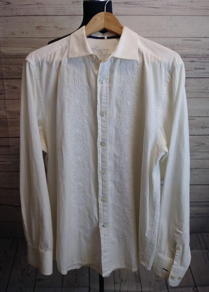 Tommy bahama denim men 39 s dress shirt white long sleeve for Tommy bahama long sleeve dress shirts