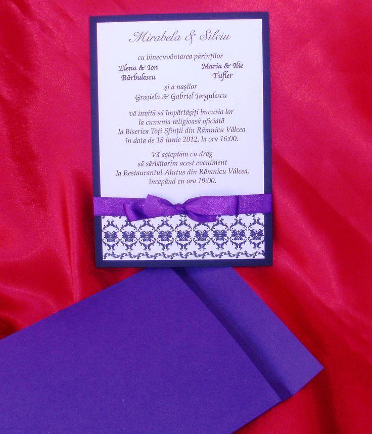 Invitatie de nunta Purple Tease, realizata din cartoane sidefate. Invitatia este accesorizata cu o panglica de culoare violet. 4, 5 RON* *Pretul include TVA, personalizare (imprimare color) si plic