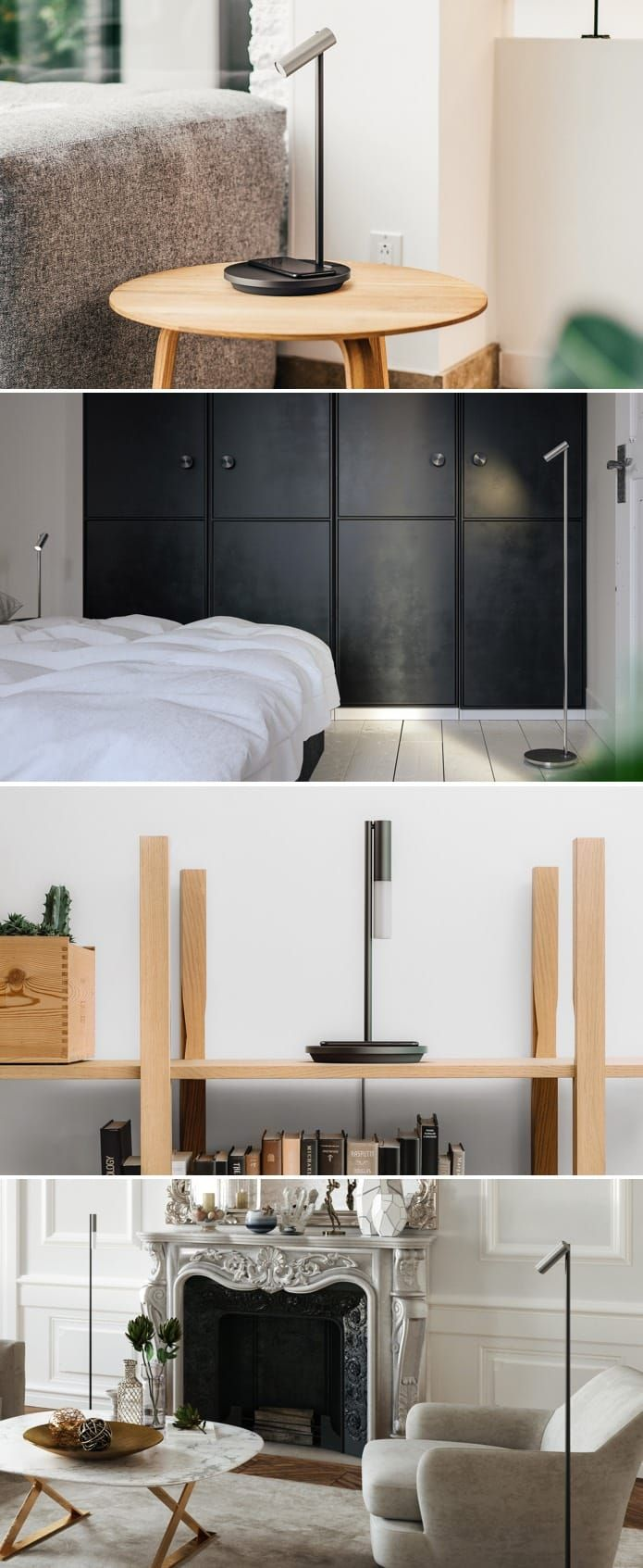 Wireless charging and voice assistance elegantly integrated into bedside, desk and floor lamps. | Check out 'Olie, Intelligent Lighting Collection' on Indiegogo.