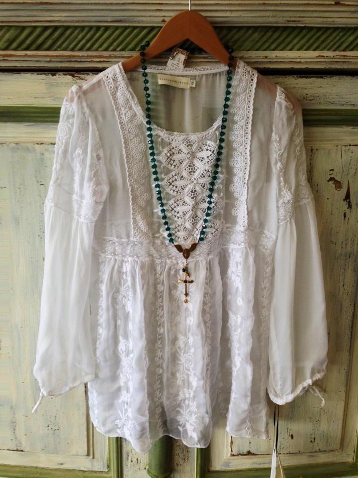 White silk 4 Love & Liberty top