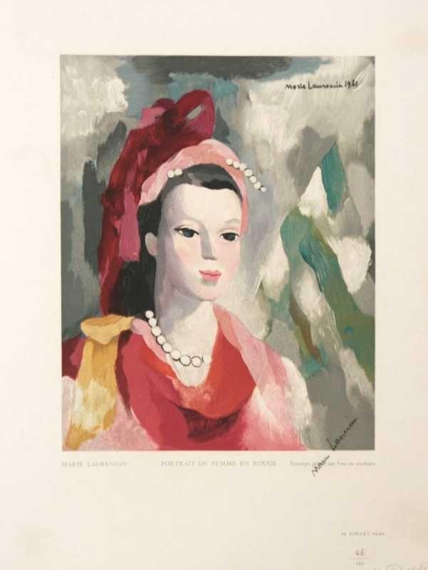 Portrait De Femme En Rouge by Marie Laurencin