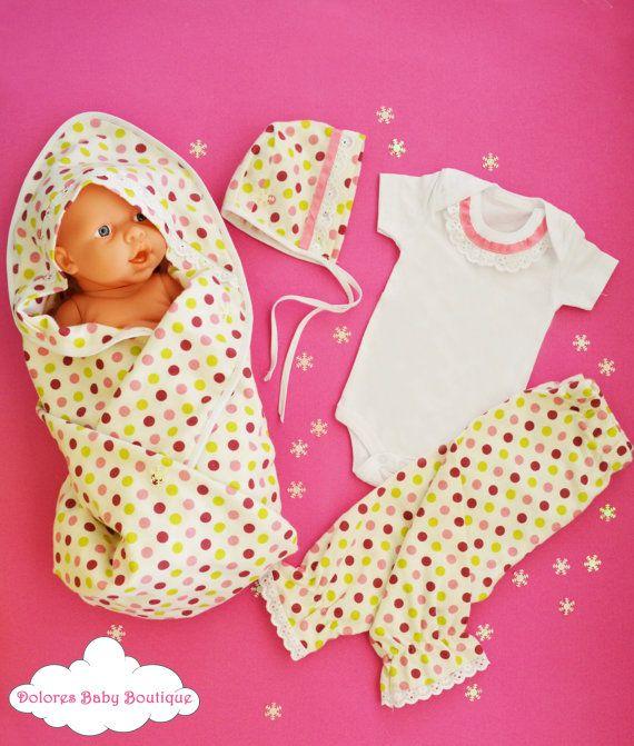 Newborn Baby Set Polka Dot Pant Baby Onesie by DoloresBabyBoutique