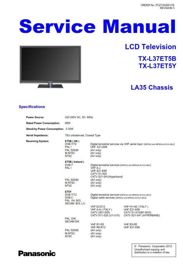 Panasonic Tx L37et5b L37et5y Lcd Tv Service Manual And Repair Guide Repair Guide Tv Services Repair