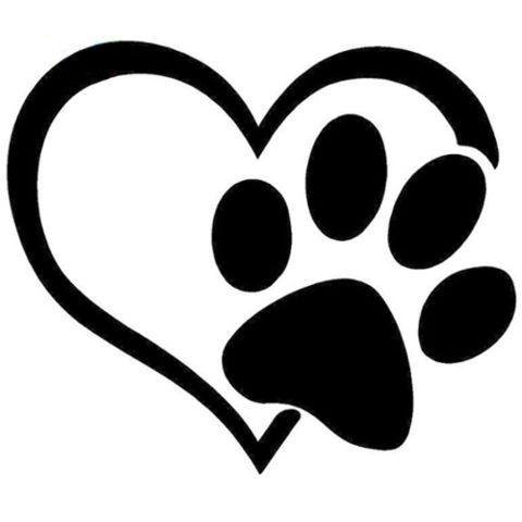 Heart with Paw Print - Highjacked Tattoos - Dog - Lasts Two-Weeks - 100% Organic - Gluten Free - Free shipping within the U.S.