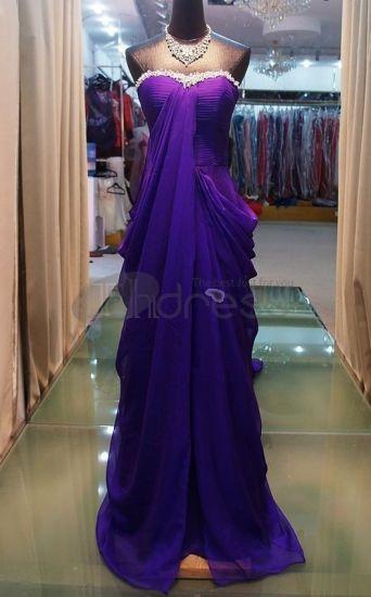 Abiti da Sera Eleganti-2012 nuovi abiti da sera eleganti senza spalline viola